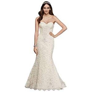 Oleg Cassini Strapless Lace Trumpet Wedding Dress